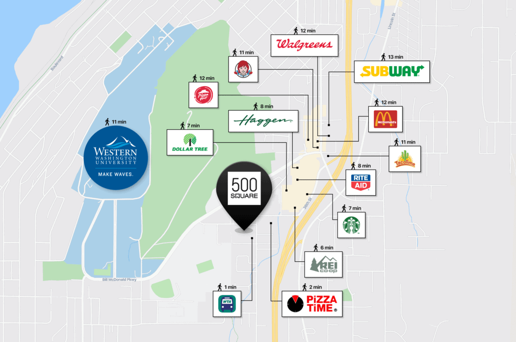 Map of nearby restaurants and grocery stores